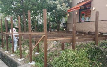 和歌山県有田郡で、SPF(防腐加工)のウッドデッキを組んできました その2