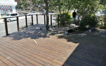 和歌山県有田郡で、SPF(防腐加工)のウッドデッキを組んできました その3
