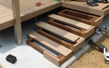 WOODSPEC、グレイスデッキを施工しました 施工編 その5 四段の階段どうしよう?